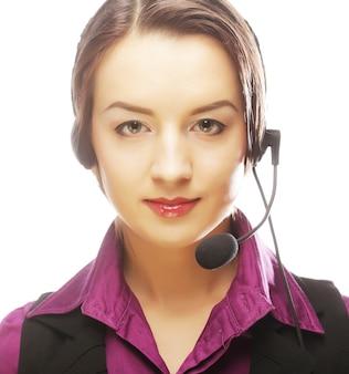 Mulher trabalhadora de atendimento ao cliente