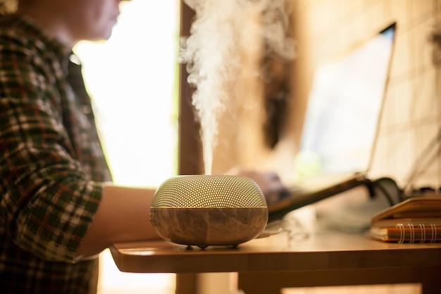 Mulher trabalhando no laptop em casa durante covid-19 com difusor de óleo essencial na mesa.