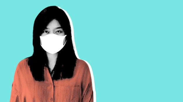 Mulher usando máscara facial durante ilustração da pandemia de coronavírus