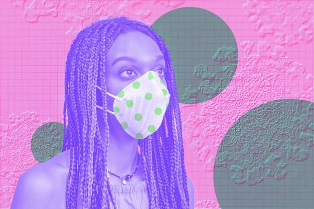 Mulher usando máscara para evitar infecção por coronavírus