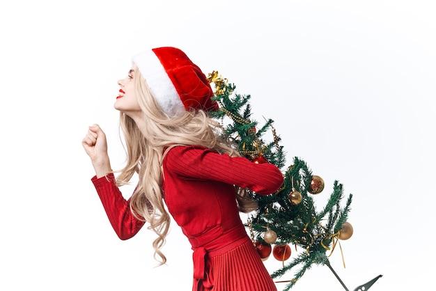 Mulher vestindo fantasia de papai noel, feriado, natal, diversão