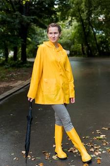 Mulher vestindo roupas de chuva
