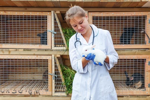 Mulher veterinária nova feliz com o estetoscópio que guarda e que examina o coelho no fundo do rancho. coelho nas mãos do veterinário para check-up na fazenda natural eco. cuidado animal e conceito de agricultura ecológica.