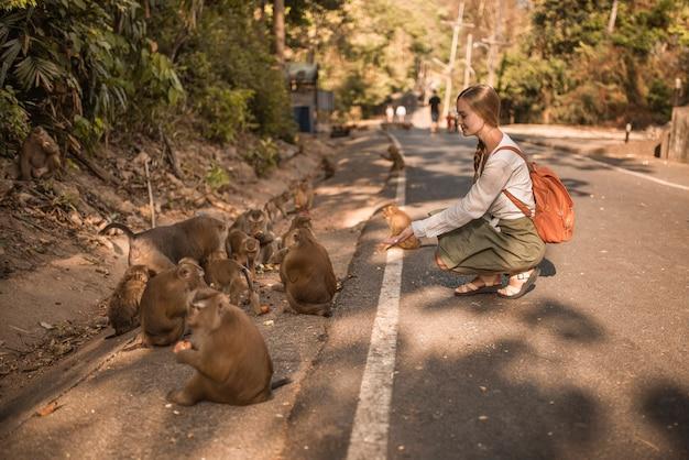 Mulher viajante caucasiana com macaquinhos ativos na selva comem melancias e amigos correm