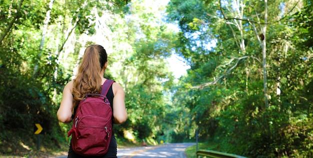 Mulher viajante com mochila caminhando em trilha de floresta tropical no brasil