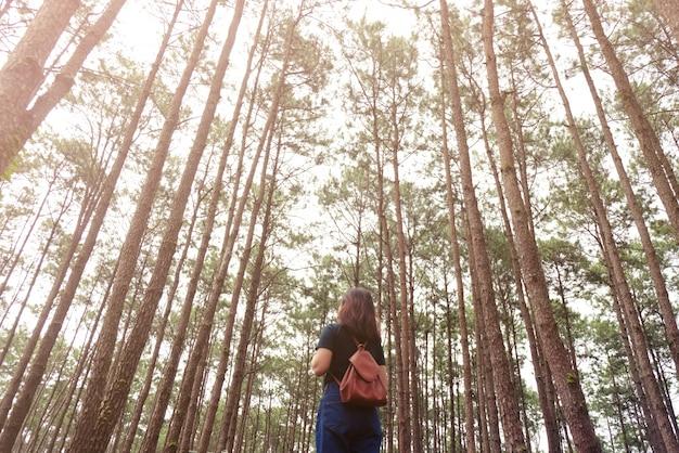 Mulher viajante tira uma fotografia na natureza