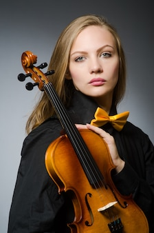 Mulher, violino jogo