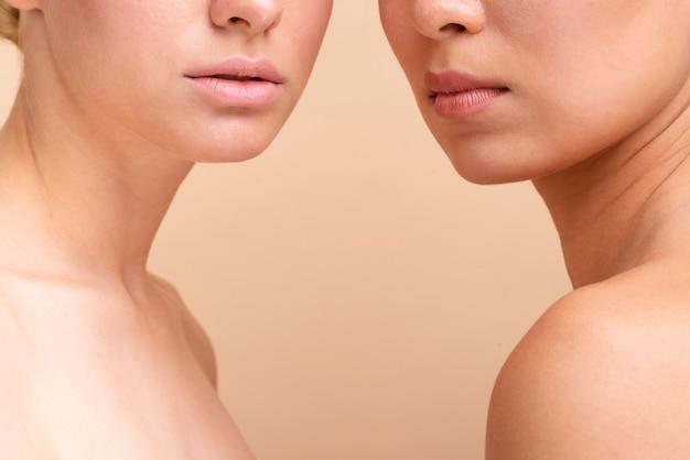 Mulheres bonitas de close-up posando juntos