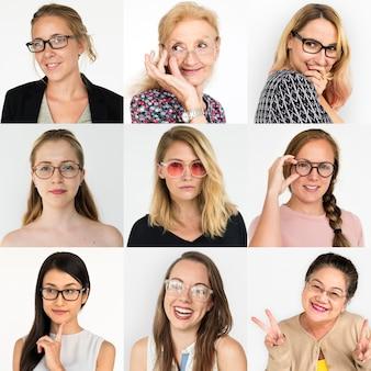 Mulheres de diversidade com colagem de coleção de óculos