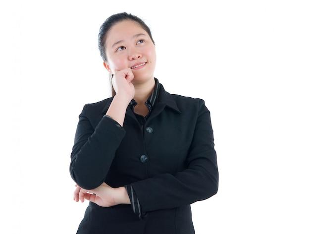 Mulheres de negócios asiáticos tendo pensado