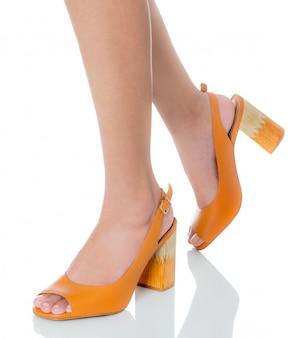 Mulheres, desgastar, couro, robusto, salto alto, moda, sapatos, com, vista lateral, perfil, isolado, branco