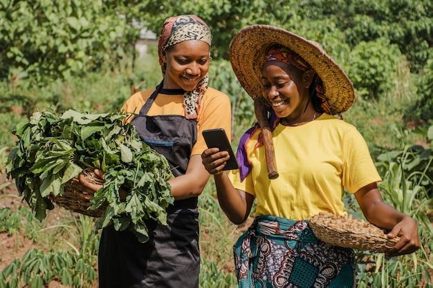 Mulheres do campo navegando juntas em um telefone