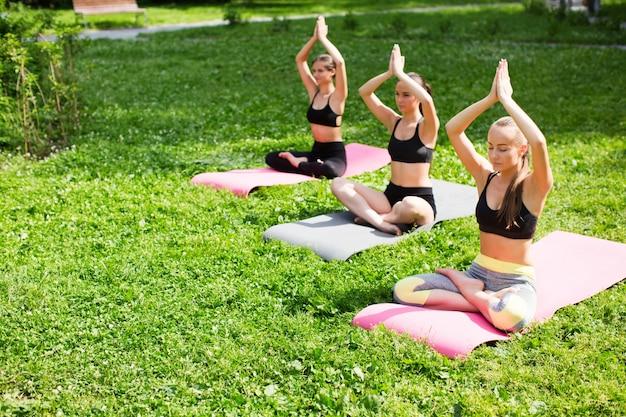 Mulheres do grupo praticando ioga no parque. meditação ao ar livre.