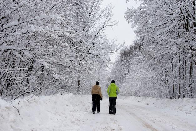 Mulheres envolvidas em esportes no inverno na natureza