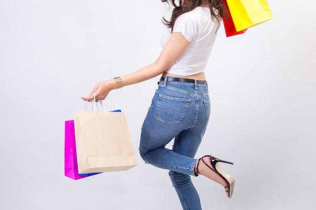 Mulheres jovens, com, shopping