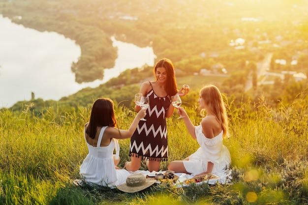 Mulheres jovens fazendo piquenique e bebendo vinho branco na grama verde.