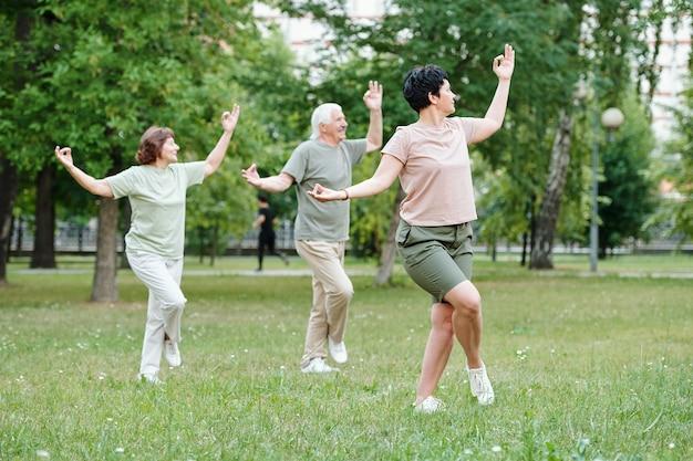 Mulheres maduras se exercitando juntas no parque ao ar livre