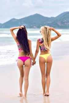 Mulheres morenas graciosas de biquíni rosa, olhando para as montanhas depois de nadar no oceano.