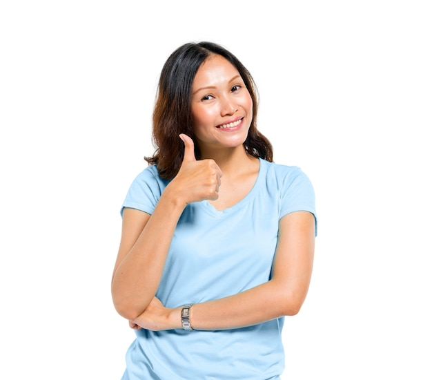 Mulheres, mostrando, polegares
