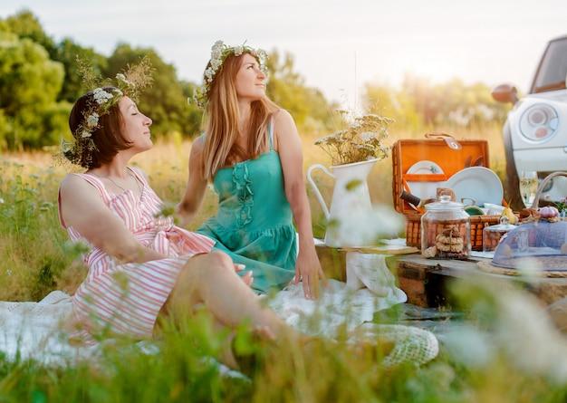 Mulheres novas bonitas das meninas da amiga em um piquenique no divertimento do verão para comemorar e beber o vinho.
