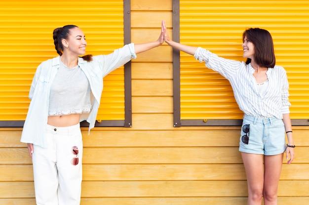 Mulheres, olhando um ao outro, enquanto, alto, fiving