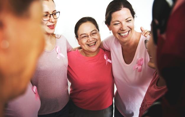 Mulheres para conscientização do câncer de mama