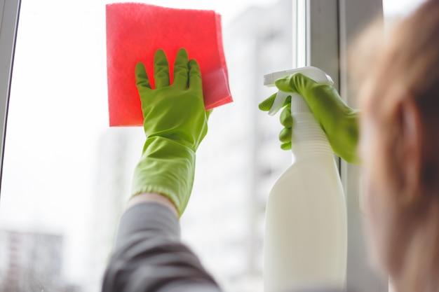 Mulheres que limpam uma janela com spray e pano. fechar-se