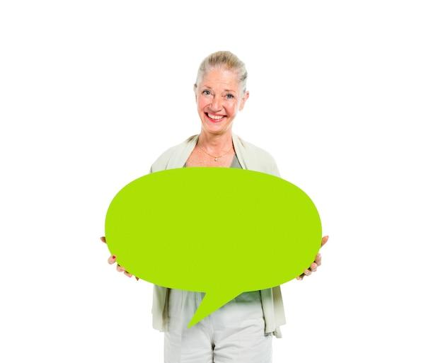 Mulheres, segurando, conversa, bolha