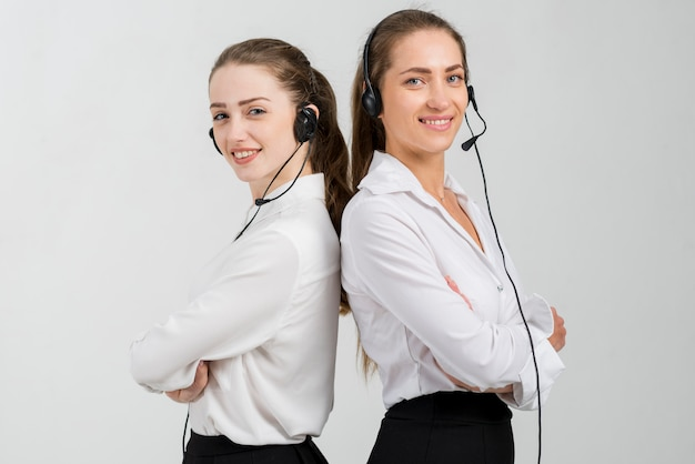Mulheres, trabalhando, em, centro chamada