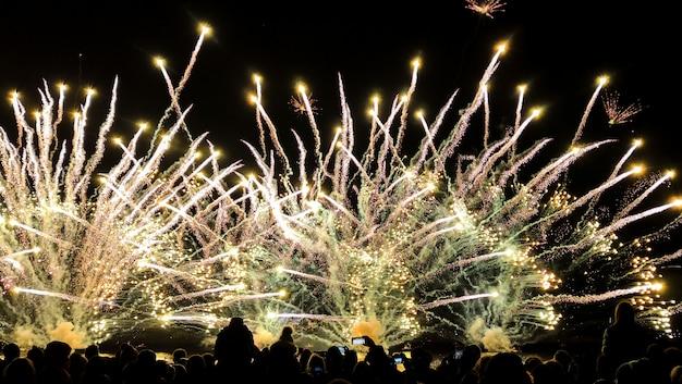 Multidão assistindo variedade de fogos de artifício coloridos. saudação com flashes de amarelo e dourado, sobre o fundo do céu noturno.