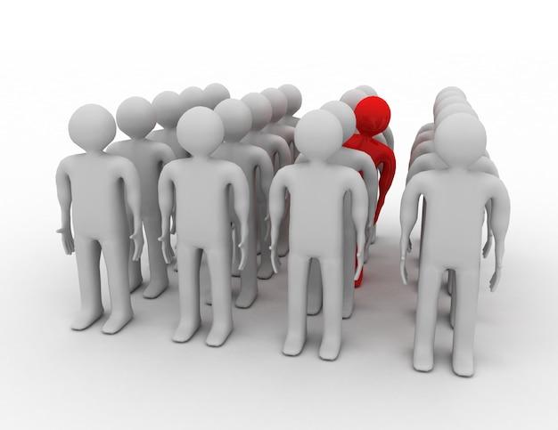 Multidão de carrinho humano 3d. ilustração renderizada 3d