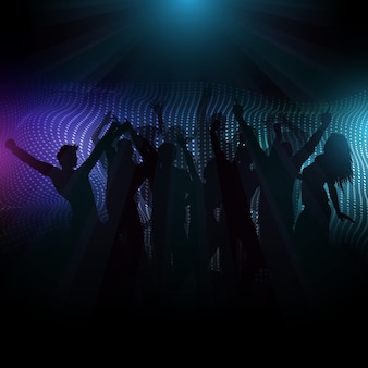 Multidão de disco em fundo abstrato com raios de luz