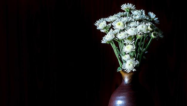 Mums brancos bonitos no vaso no tom escuro no fundo preto.