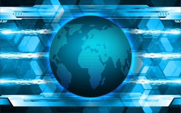 Mundo binário placa de circuito tecnologia futura blue hud cyber security concept background
