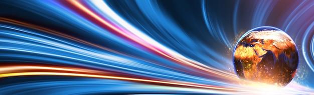 Mundo na iluminação de movimento de cor para o conceito de futuro.