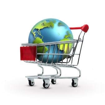 Mundo no conceito de vendas de carrinho de compras
