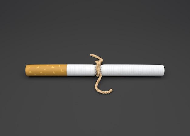 Mundo sem tabaco dia, cigarro com corda.