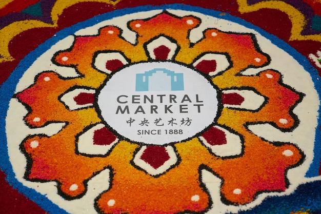 Mural colorido do mercado central