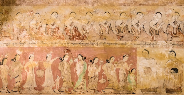 Mural de birmanês antigo no templo de bagan, mianmar