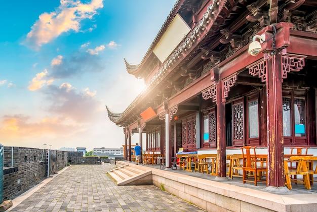 Muralha da cidade antiga portão cidade em suzhou