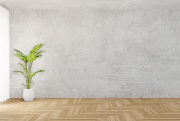 Muro de concreto de fundo e piso de madeira, árvore, renderização em 3d
