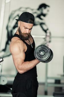 Musculação, pesado, ajuste, corpo