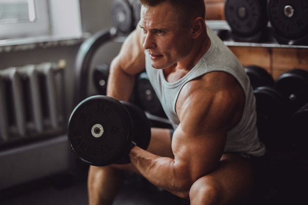 Músculo, mão, macho, saudável, braço