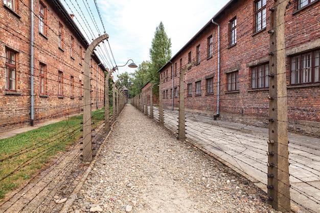 Museu do campo de concentração nazista auschwitz-birkenau na polônia