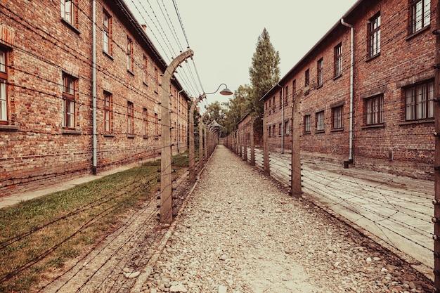 Museu do campo de concentração nazista de auschwitz-birkenau na polônia