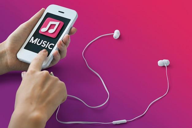 Música auido mp3 player podcast conceito de som de música