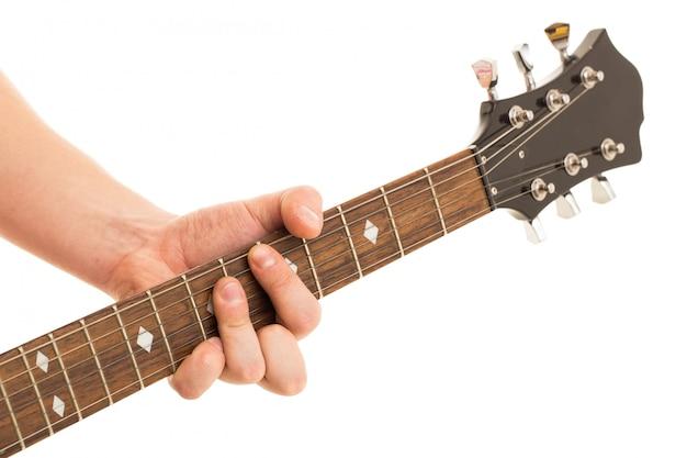 Música, close-up. músico segurando guitarra electro