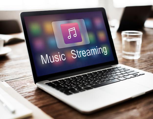 Música digital que flui o conceito em linha do entretenimento dos multimédios