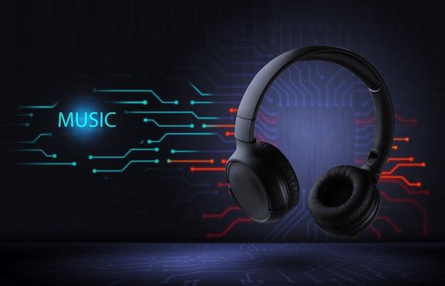 Música eletrônica. fones de ouvido pretos sem fio em um fundo futurista. ... som de alta qualidade.