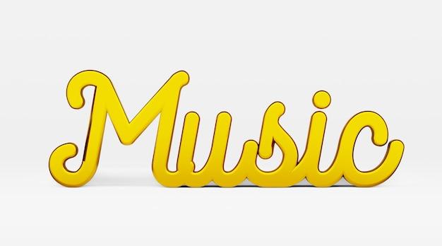 Música. uma frase caligráfica. logotipo 3d dourado no estilo de caligrafia de mão em um fundo branco e uniforme com sombras. renderização 3d.
